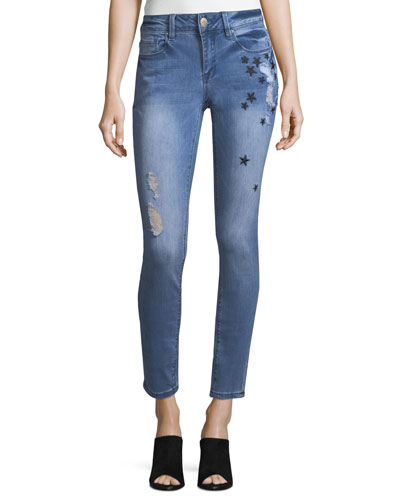 Mid-Rise Embroidered Skinny Jeans