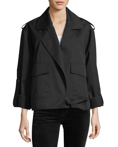 Aviator Open-Front Notched-Collar Wool Jacket