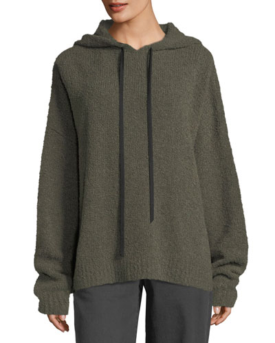 Merino Wool Hooded Pullover Sweatshirt