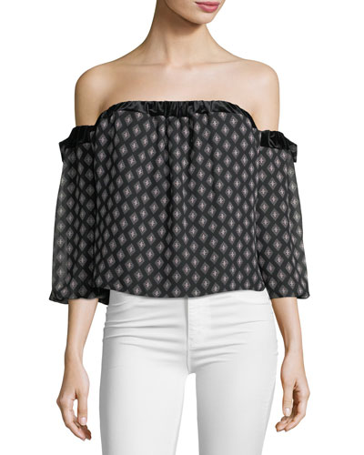 Vallez Off-the-Shoulder Printed Chiffon Top