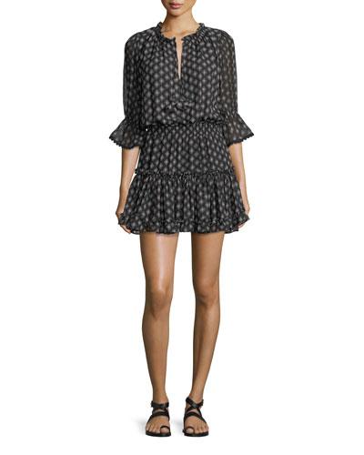 Cerise Printed Split-Neck Blouson Mini Dress