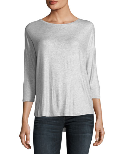 Soft-Touch Metallic Long-Sleeve Boat-Neck Top