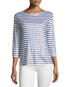 Linen Metallic Striped Top