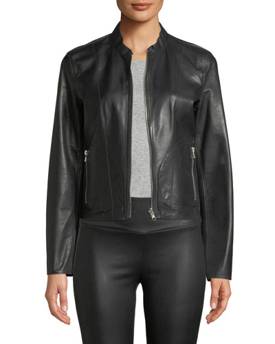 Reversible Zip-Front Lamb Leather Metallic Bomber Jacket