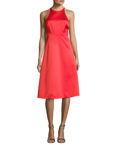 Sleeveless High-Neck Cocktail Dress w/ Back Bow