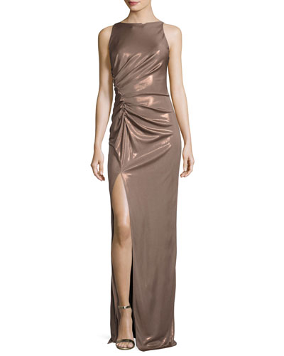 Sleeveless High-Neck Ruched-Side Evening Gown