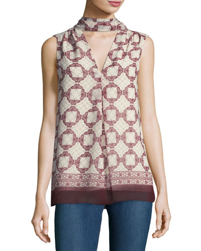 Choker-Neck Geometric-Print Blouse