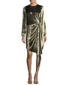 Melanie Long-Sleeve Velvet Knot Cocktail Dress