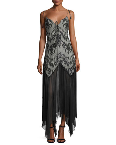 Alicia Sleeveless Lace Handkerchief Evening Dress