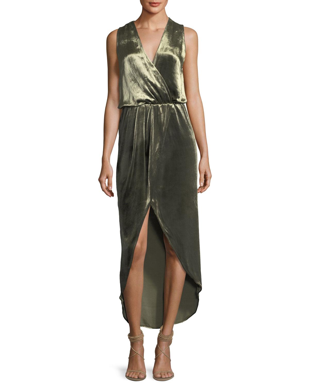 Sleeveless Draped Velvet Wrap Gown