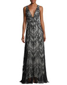 Doreen Hook-&-Eye Lace Evening Gown