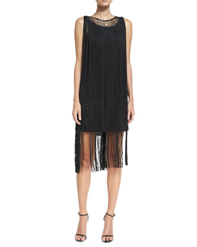 The Greatest Show on Earth Sleeveless Fringed Cocktail Dress