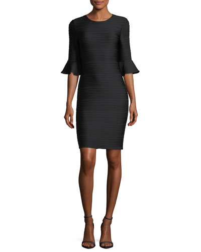 Eilley Jewel-Neck Trumpet Sleeve Sheath Dress