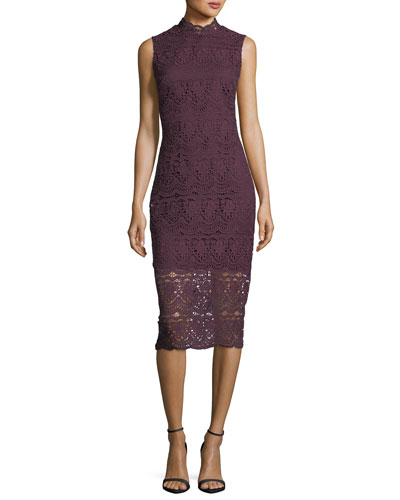 Mirian Mock-Neck Sleeveless Lace Daytime Dress