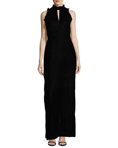 Alyssa Sleeveless Mock-Neck Velvet Evening Gown
