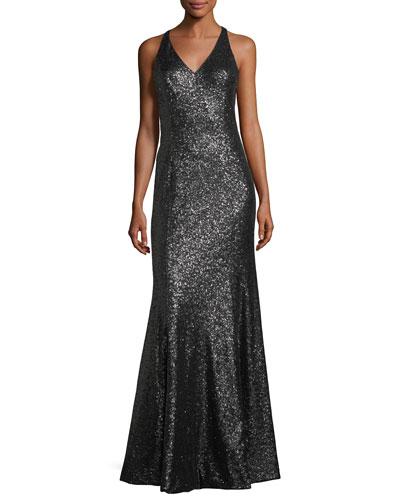 Jemma V-Neck Sequin Column Evening Gown