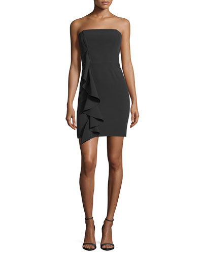 Anna Strapless Bustier Cascade-Ruffle Cocktail Dress