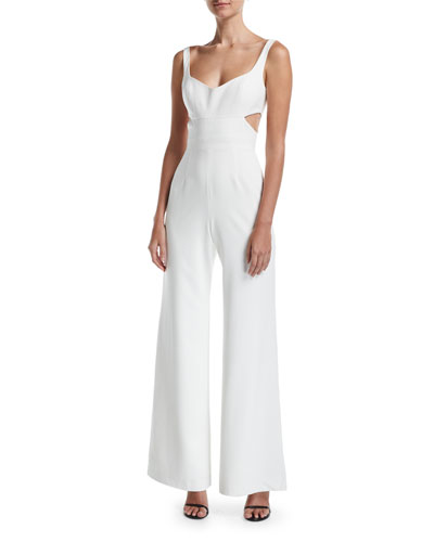 Daisy Sleeveless V-Neck Cutout Wide-Leg Jumpsuit