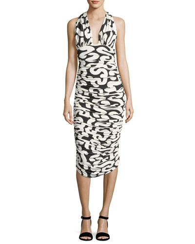 Halter Printed Ruched Cocktail Dress