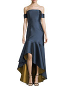 Walia Off-the-Shoulder High-Low Hem Evening Gown