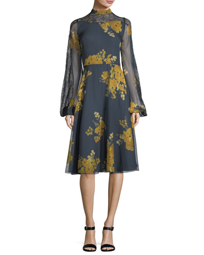 Velir Mock-Neck Floral-Print Georgette Dress w/ Lace