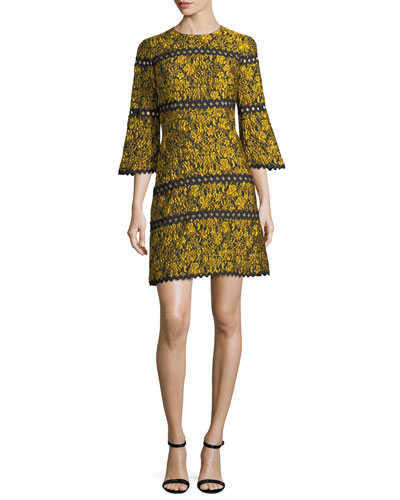 Sidhu Jacquard Bell-Sleeve Cocktail Dress