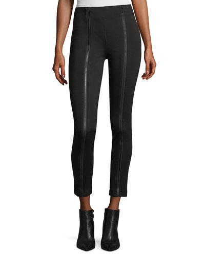 Zip-Detail Ponte-Knit Pants