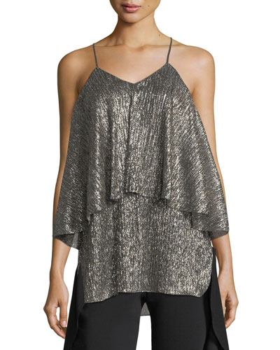 Metallic-Jersey Flounced Sleeveless Top