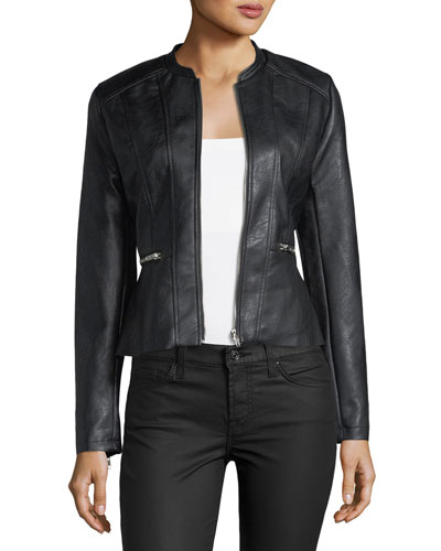 Faux-Leather Peplum Jacket