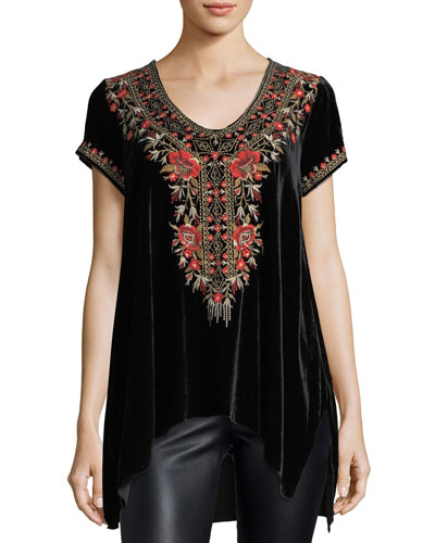 Eleanor Velvet Embroidered Top