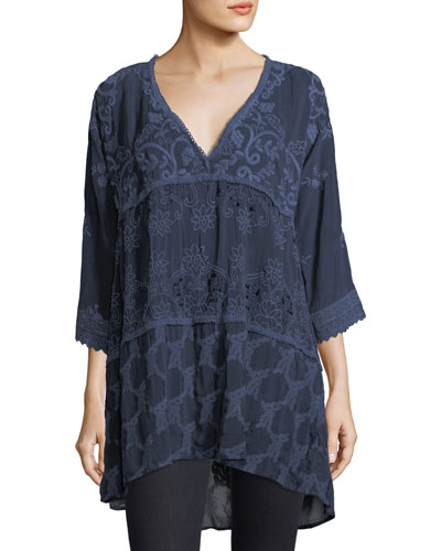 Monrow V-Neck Tiered Georgette Tunic, Plus Size