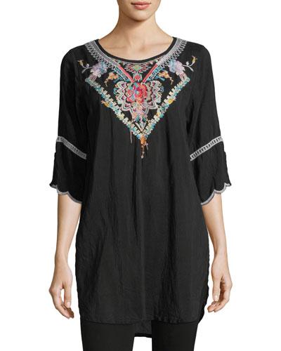 Brazillia Embroidered Long Tunic, Plus Size