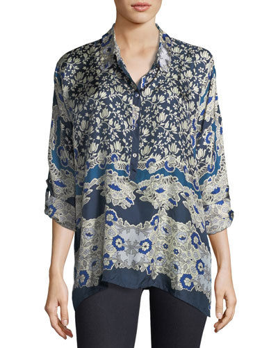 Wishing Printed Silk Georgette Blouse, Plus Size