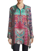 Meco Printed Silk Twill Tunic, Plus Size