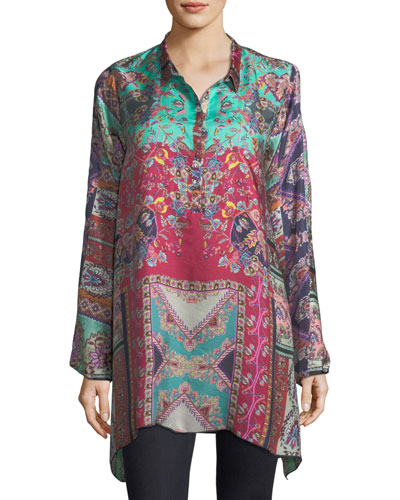 Meco Printed Silk Twill Tunic, Plus Size