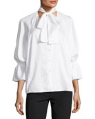 Serena Button-Front Poplin Top