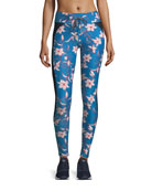 Fairy Tale Floral-Print Performance Yoga Pants