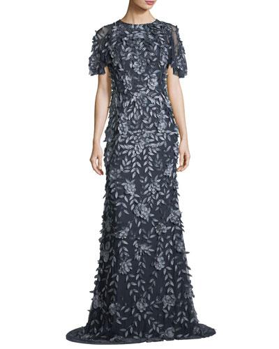 Short-Sleeve Satin Column Evening Gown
