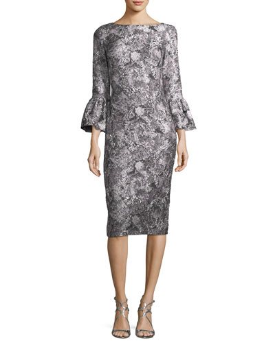 Metallic Jacquard Trumpet-Sleeve Cocktail Dress