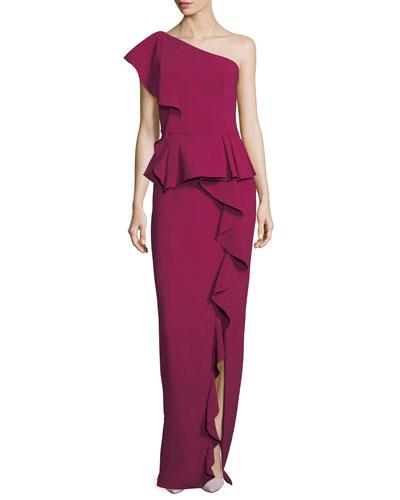 One-Shoulder Ruffled Column Evening Gown