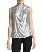 Landon Metallic-Knit Top