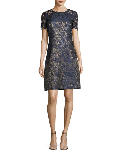 Galina Metallic Jacquard Shift Dress