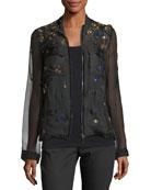 Katya Floral-Appliqué Silk Jacket