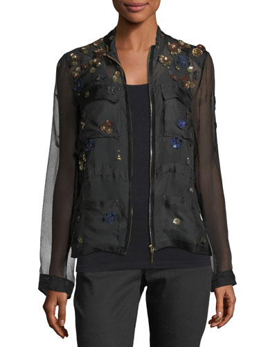 Katya Floral-Appliqué Silk Jacket