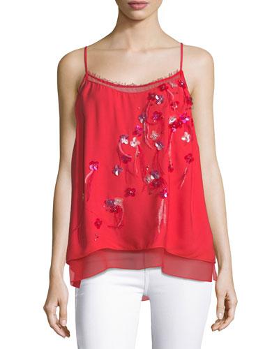 Aldin Floral-Appliqué Camisole Blouse
