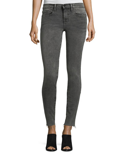 Le Skinny Raw-Edge Faded Jeans