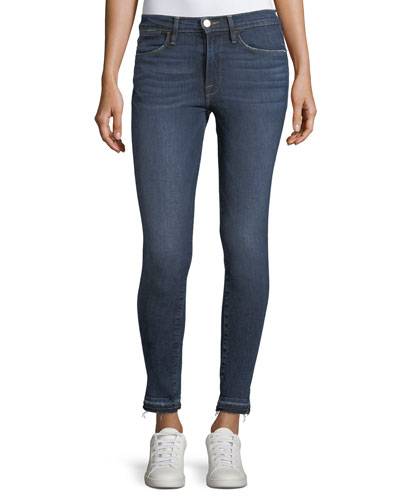 Le High Side-Slit Skinny-Leg Jeans w/ Released Hem