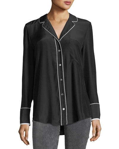 Button-Front Silk Pajama Blouse