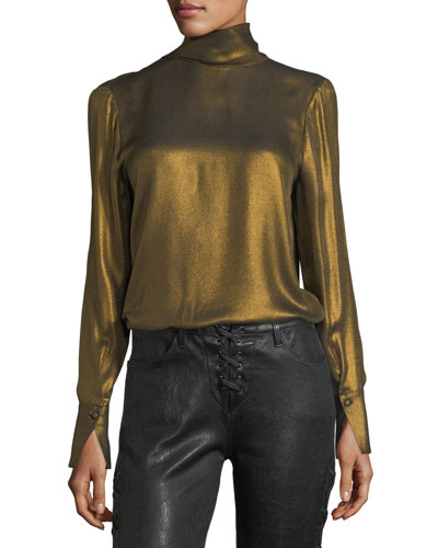 Turtleneck Long-Sleeve Metallic Blouse