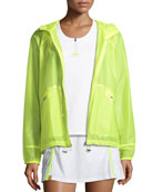 Wave Hooded Zip-Front Wind-Resistant Jacket
